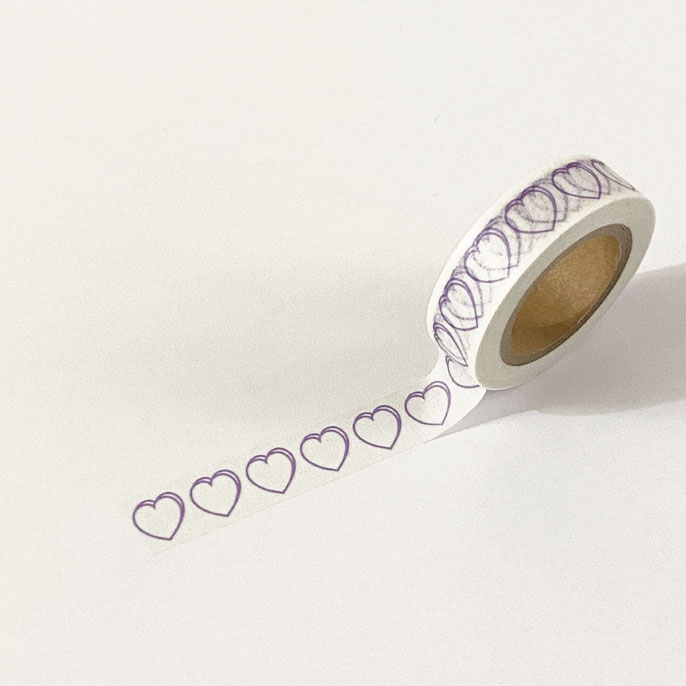 heart masking tape (line_light purple)