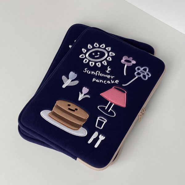 (navy) sunflower pancake laptop pouch