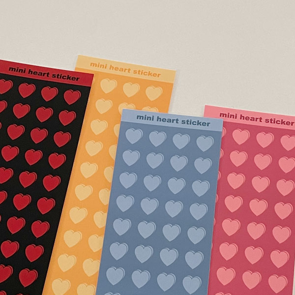 mini heart sticker (4color)
